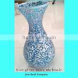 Table Decoration Fluted Shimmer Crackle Mosaic Antique Blue Glass Vases for Centerpiece