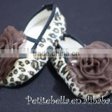 Leopard Print Shoes with Coffee Brown Rosettes Pettishoes Crib Shoes MAS19