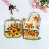 Alibaba Hot sale high quality 100% Cotton Kitchen Oven Gloves with Oven mat