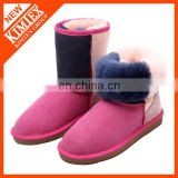 wholesale colorful women's genuine leather half snow boots