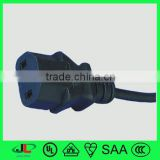 Certifications 10--15/250V pvc insulation cord 3 core wire flat female plug