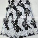 Black +White African Swiss 3D Flower Organza Lace Fabric ,Net sequins organza lace fabric ,wedding lace fabric high quality