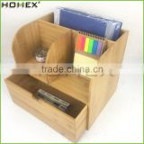 Big Size File Organizer Holder with Bamboo Drawer and Office Organizer/Homex_FSC/BSCI Factory
