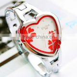 trendy elegant 2014 newest heart shape bracelet woman watch
