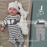"Long Sleeve Soft Cotton Newborn Baby Romper Outfit Stripe Design With "" Hi"" Pattern for 0-24 Months"