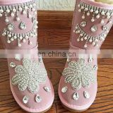 Aidocrystal boot women shoes 2017 New Hot rhinestone pearl Warm Fur half Snow Winter Boots size 12