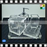 Clear acrylic bathroom set of toothbrush holder,soap dish,cotton jar,lotion pump bottle,tray and mug