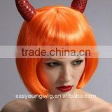Cheap synthetic red color hair fashion orange color party wig, Halloween wig wholesale