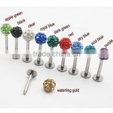 Internally threaded disco ball labrets,multi-gems lip jewelry