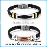 Leather jewelry wholesale mens black wrap leather bracelet