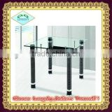 new design stainless legs square glass dining table