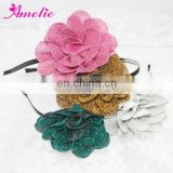 Vintage Antique Glitter Fabric Flower Adult Headband