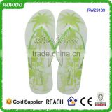 new design beautiful printing wedge light slippers thick sole pu flip flops for women