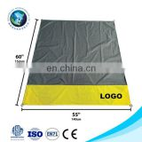 Compact outdoor cheap sandless folding yellow beach mat blanket with LOGO Custom parachute nylon picnic blanket waterproof