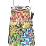 Colorful printed round stainless steel kids food warmer lunch box