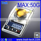 50G/0.001G High Accuracy Mini Electronic Digital Jewelry Weigh Scale Balance Pocket Gram LCD Electronic Scales