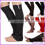 wholesale young girl fashion cable knit leg warmer with buttons