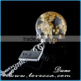 Top quality clear dandelion wishing round resin ball pendant for DIY jewelry