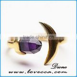 Alibaba Top Sale Natural Amethyst Bullet Shape Stone Vintage Pure Gold Ring for Woman
