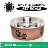 non-skid rubber base Copper Pet bowl with lid