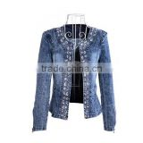 <b>Womens</b> Demin Diamond Sequined Punk <b>Jean</b>s Long Sleeve Jacket