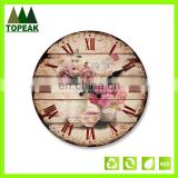 Promotional cheap DIY painting Wooden Wall Clock,Round Simple Design Antique decorative wall clock