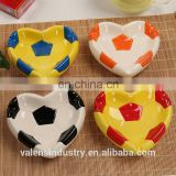 Custom Colorful Ceramic Heart Shape Football Design Ashtray