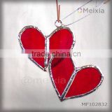 MF102832 nickel plated cooper foil soldered stained glass heart shap wall hanging for home decoration piece wholesale