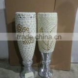 flower vase with jewel and pearl resin vase glass vase
