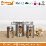 eco-friendly stainless steel metal airtight storage canister