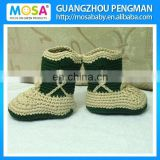 Hand Crocheted Baby Ankle Boots Cpwboy Boots Khaki and darkslategray