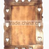 Hand crafted Heart cut decorative wood mirror frame, hand carved wooden frame