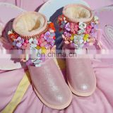 Aidocrystal fashion cute DIY pink color Flower shoes china cheap winter women boots