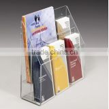 2-Tiered Acrylic Literature Holder for Tabletop or Wall, 6 Adjustable Pockets - Clear(AL-B-0269)