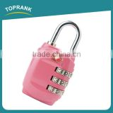 Toprank Factory Directly Sale Colorful Zinc Alloy TSA Safty Luggage Combination Padlock Travel Suitcase Luggage 3-Dial TSA Lock