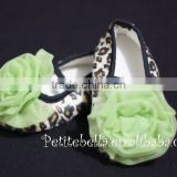 Leopard Print Shoes with Lime Green Rosettes Pettishoes Crib Shoes MAS21