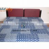 Indigo Print Quilts Bedding Twin Size Fruit Print Bedspread Indian Handmade Quilts