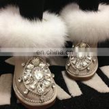 Aidocrystal factory price Handmade shiny rhinestone boots new design women best warm winter boots shoes