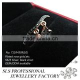2015 guangzhou sheng lei shi jewelry limited 925 prata esterlina solida with heart shape pendant black finger ring for lady