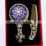Antique Imitation Cosmetic Metal Pocket Mirror with Hair Comb,Handle Mirror/Hand Held Makeup Mirror/Round Fashion Mirror