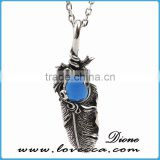 Big Blue Stone Mens Womens Vintage Feather Stainless Steel Pendant