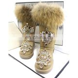 Aidocrystal 2016 fashion suede rhinestone upper faux fur bling snow boots