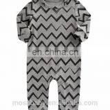 Grey Baby Boys Outfit Soft Cotton Long Sleeve Grey Wave Design Rompers 0-24 Months