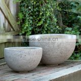 Polystone planter, durable fiberstone outdoor pots, lighweight fiberglass