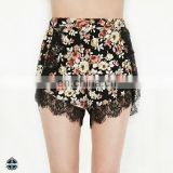 T-WS506 Flower Print Hot Sales Rayon Pom Pom Shorts