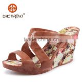 wedge high heels roman sandals flower pvc shoes ladies plastic jelly shoes melissa