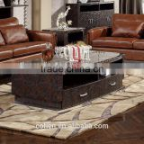modern luxury mdf storage cabinet crocodile pu marble top stainless steel base coffee center table