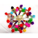 Key Chain Handmade Pom Pom Banjara 5 PC's Lot Mirror Beads Work Key Chain Ring