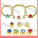 Hot selling wholesale crystal ball closer ring nose ring gold labret body piercing jewelry