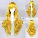 wholesale high quality 80CM long gold wave Lolita women fashion party synthetic hair wig